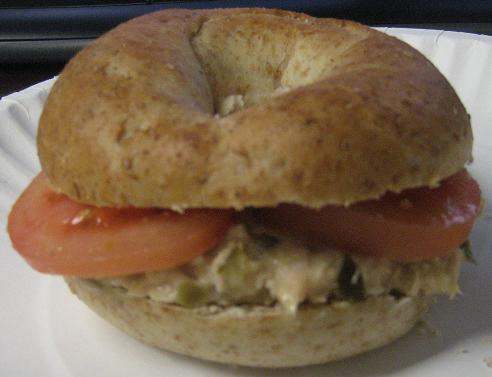 Tuna Salad on a Wheat Bagel