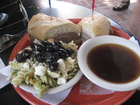 French Dip Sandwich with Pasta Salad
