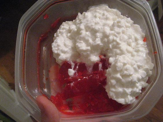 Strawberry Jello and Cottage Cheese