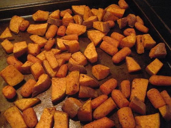 Roasted Cinnamon-Nutmeg Carrot and Sweet Potato