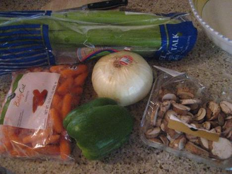 Carrots, Onion, Celery, Green Pepper, 'Shrooms