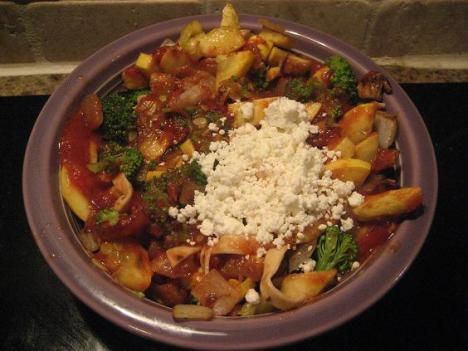 Pasta with Goat Cheese and Veggies